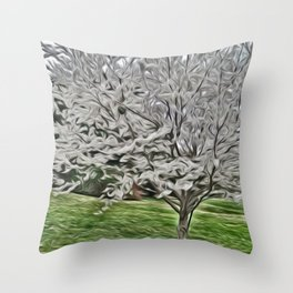Sterling Silver Tree Throw Pillow