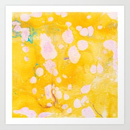 speckled marble | yellow Art Print