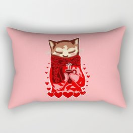 Cozy Cat & Hearts Rectangular Pillow