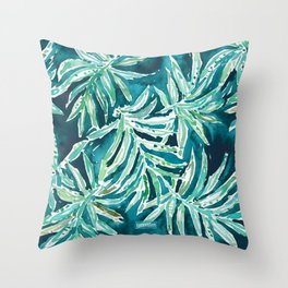 SANTA CRUZIN' Navy Tropical Palm Leaves Throw Pillow