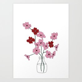 Floral one line drawing - Blossom Art Print
