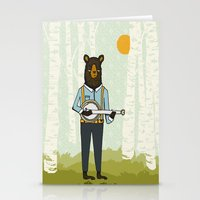 banjo Stationery Cards featuring Bear's Bourree - Bear Playing Banjo by Prelude Posters