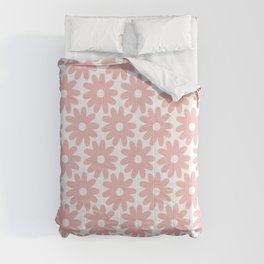 Crayon Flowers Smudgy Floral Pattern in Pink and White Comforters