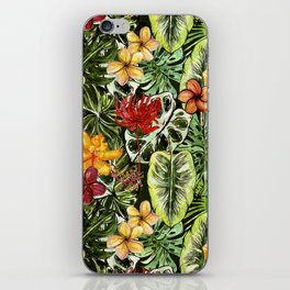 Tropical Vintage Exotic Jungle Flower Flowers - Floral watercolor pattern iPhone Skin
