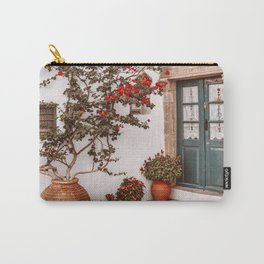 Green Front Door in Greek Islands, Orange Flowers in Greece, Travel Architecture Photography Carry-All Pouch