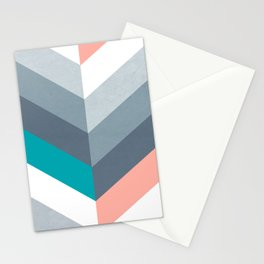 Vertical Chevron Pattern - Teal, Coral and Dusty Blues #geometry #minimalart #society6 Stationery Cards