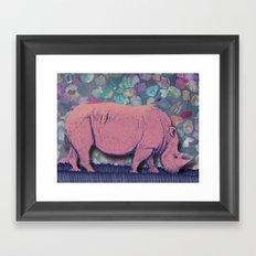 Pink Rhinoceros Collage Framed Art Print