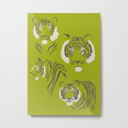Tigers in Green Metal Print