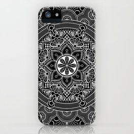 Black White Mandala Pattern Background  iPhone Case