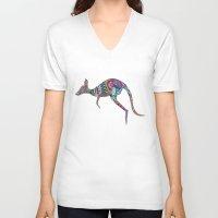 kangaroo V-neck T-shirts featuring kangaroo by Annie Liu