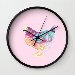 Pretty Colorful Chicken Pink, Teal, Yellow, Teal // Vibrant Chicken Wall Clock