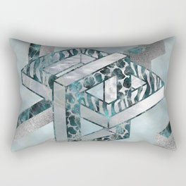 Abstract 3D Geometric Labradorite on Mother of pearl Rectangular Pillow