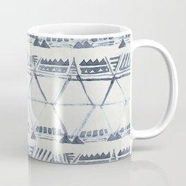 Simply Tribal Shibori in Indigo Blue on Lunar Gray Coffee Mug