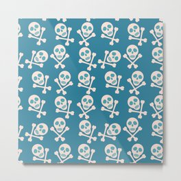 Blue seamless background. Skull and bones. Pirates. Metal Print