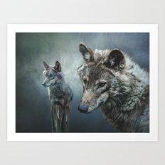 Wolves in moonlight Art Print