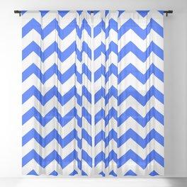 Chevron Texture (Blue & White) Sheer Curtain