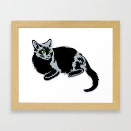Black cat with green eyes Framed Art Print