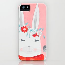 white rabbit with flowers, mushrooms & bow in pink watercolor iPhone Case