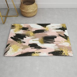 Blush and Gold Abstract Rug