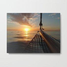 Sunset onboard a sailing yacht- Nautical photography- sailing Metal Print