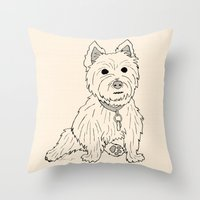 westie Throw Pillows featuring Westie Sketch by Circus Dog Industries
