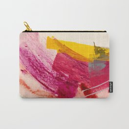 Pink Lemonade: a minimal, colorful abstract mixed media with bold strokes of pinks, and yellow Carry-All Pouch
