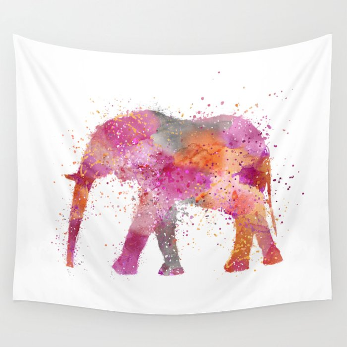 Artsy watercolor Elephant bright orange pink colors Wall Tapestry