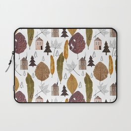 Pattern with autumn leaves and houses and spruces. Laptop Sleeve