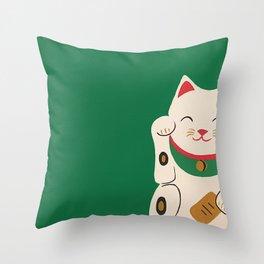 Green Lucky Cat Maneki Neko Throw Pillow