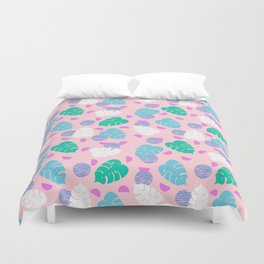 Monstera leaf house plant abstract modern print neon pink pastel summer vacation palm springs Duvet Cover