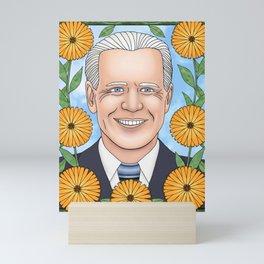 Joe Biden portrait with calendula Mini Art Print