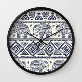 Vintage graphic vector Indian lotus ethnic elephant Wall Clock