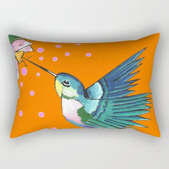 Hummingbird Orange Rectangular Pillow