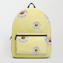 Daisies in love- Yellow Daisy Flower Floral pattern with Ladybug Backpack