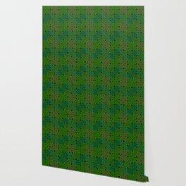 Vintage 70's Moss Green Geometric Tapestry Print Wallpaper