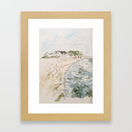 le pouliguen beach watercolor and ink painting Framed Art Print