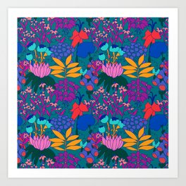 Psychedelic Jungle Garden in Pond Teal Art Print