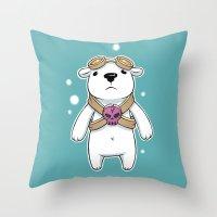pilot Throw Pillows featuring Polar Pilot by Freeminds