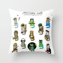 Military Cats Throw Pillow