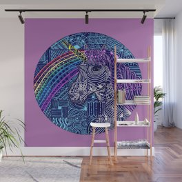 Rainbow and Unicorn | Patchwork Wall Mural