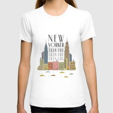 New Yorker Than You MEDIUM Womens Fitted Tee White