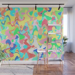 Chaotic vision, vibrant colors and shapes, funny mess Wall Mural