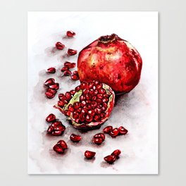 Red pomegranate watercolor art painting Canvas Print
