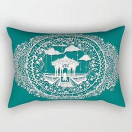 Seaside Bandstand Hand-Cut Papercut Rectangular Pillow
