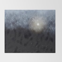 Glowing Moon in the night sky Throw Blanket
