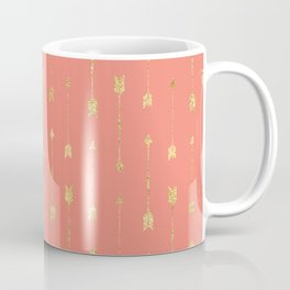 Coral And Gold Glitter Arrow Pattern Coffee Mug
