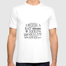 A Book A Day... MEDIUM White Mens Fitted Tee