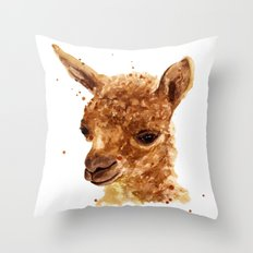Alpaca Painting, alpaca print, animal art print, alpaca Throw Pillow