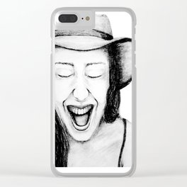 So Amused! Expressions of Happiness Series -Black and White Original Sketch Drawing, pencil/charcoal Clear iPhone Case