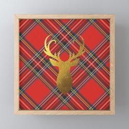 Gold Stag Head On Red Tartan Framed Mini Art Print